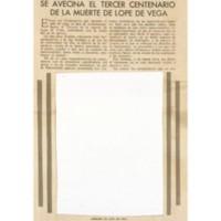 Se avecina el tercer centenario de la muerte de Lope de Vega | Shelfnum : JMG-CA1-1935-00-00 | Page : 1 | Content : facsimile
