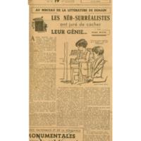 Les néo-surréalistes ont juré de cacher leur génie... | Shelfnum : JMG-CA1-1946-10-19 | Page : 1 | Content : facsimile