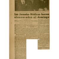 Las jornadas médicas fueron clausuradas el domingo   Shelfnum : JMG-CA1-1962-06-00   Page : 1   Content : facsimile