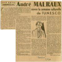 """""""André Malraux ouvre la semaine culturelle de l'U.N.E.S.C.O.""""   Shelfnum : JMG-CA1-1946-11-07   Page : 1   Content : facsimile"""
